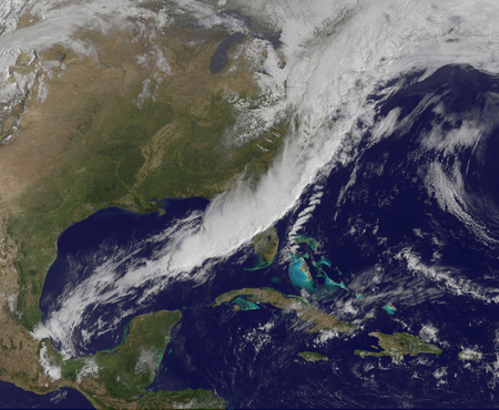triggered: April 5, 2011 - A strong cold front moving through the eastern United States. The cold front triggered severe thunderstorms (the line of brightest white are the highest thunderstorms, and the strongest storms) and showers and thunderstorms from the Mid-At