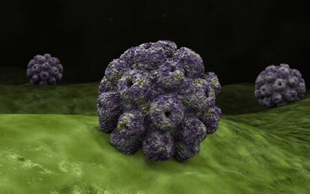 proteomics: Conceptual image of polyomavirus.