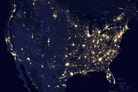 npp: This image of the United States of America at night is a composite assembled from data acquired by the Suomi NPP satellite in April and October 2012. The image was made possible by the new satellite's day-night band of the Visible Infrared Imaging  LANG_EVOIMAGES