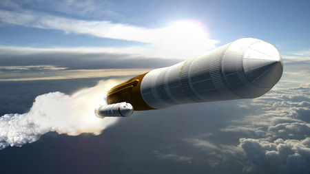 Artists concept of a cargo launch vehicle blast off