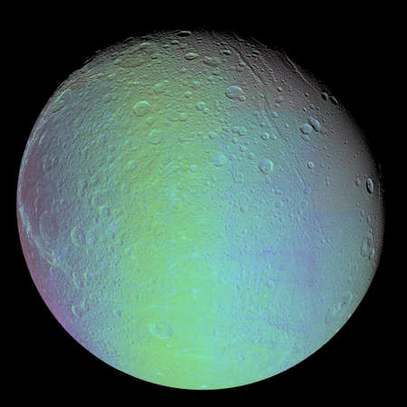 dione: False color view of Saturns moon Dione LANG_EVOIMAGES