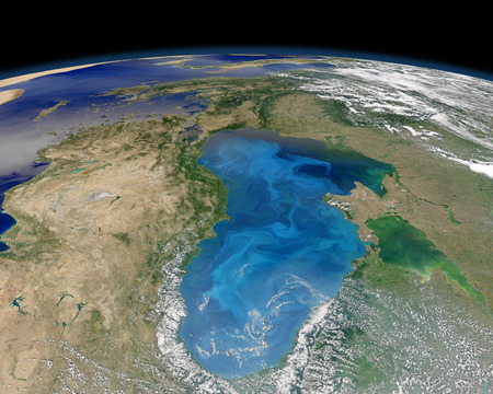 physical geography: July 15, 2012 - Satellite view of swirling blue phytoplankton bloom in the Black Sea. This brilliant cyan pattern scattered across the surface of the Black Sea is a bloom of microscopic phytoplankton. The multitude of single-celled algae in this image are