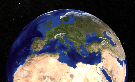 The Blue Marble Next Generation Earth  showing the Mediterranean Sea