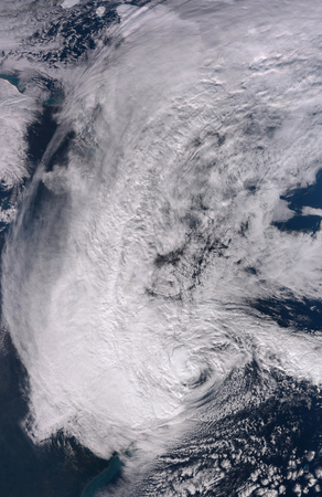October 29, 2012 - Hurricane Sandy making landfall on the Northeastern coast of the United States.