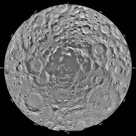 orthography: Lunar mosaic of the south polar region of the moon