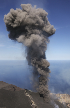 May 9, 2009 - Stromboli ash eruption, Aeolian Islands, north of Sicily, Italy.