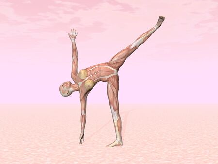 Female musculature performing half moon yoga pose, pink background.