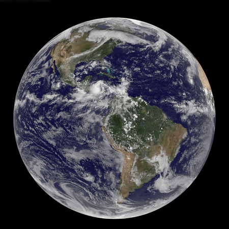 Full Earth showing North and South America on September 24, 2010.