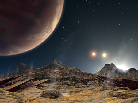 reside: View from a hypothetical moon in orbit around the first known planet to reside in a tight-knit triple-star system