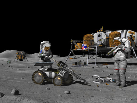 Lunar prospectors prepare a remote-controlled rover for exploring and drilling into the regolith in search of exploitable resources. Immediately behind the prospectors is a self-contained habitat with room and resources enough to sustain four people for s