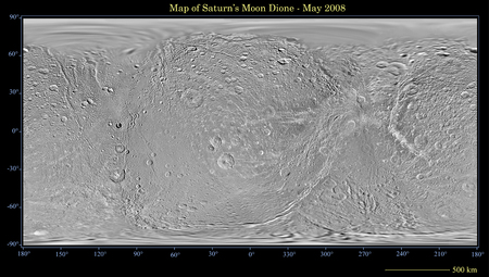 dione: Global map of Saturns moon Dione