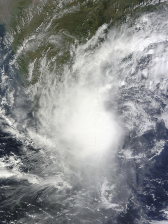 November 7, 2010 - Cyclone Jal along the coast of India, immediately north of Sri Lanka. Although the storm lacks a distinct eye, it spans hundreds of kilometers, hiding most of southern India and northern Sri Lanka.