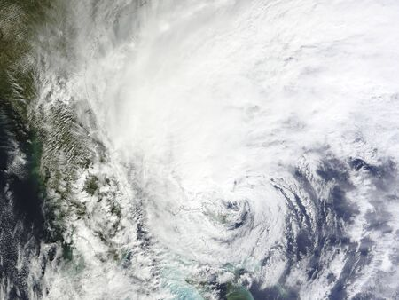 bahama: October 26, 2012 - Hurricane Sandy over the Bahamas, with the eye of the storm near the island of Grand Bahama.