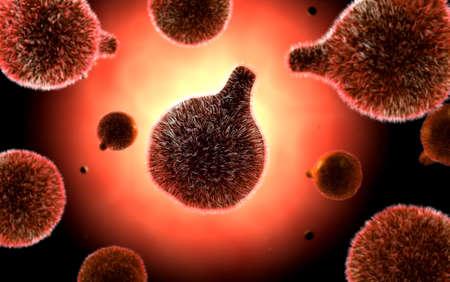 Conceptual image of plasmodium causing malaria.