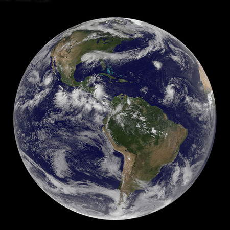 August 30, 2012 - Satellite image of Earth and three tropical cyclones in a panoramic shot of the Atlantic Ocean basin. Visible are, Tropical Storm Isaac over the U.S. Gulf coast, Hurricane Kirk and Tropical Depression 12 in the central Atlantic Ocean. Is
