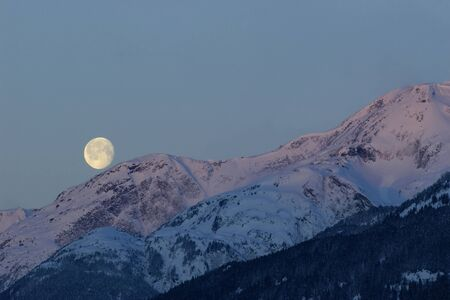 alpenglow: Moon and Alpenglow