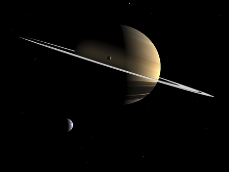 dione: Artists concept of Saturn and its moons Dione and Tethys. This image shows how Saturn might appear from near Dione, one of Saturns inner icy satellites. Dione is about 700 miles in diameter and is believed to be composed primarily of water ice along wit