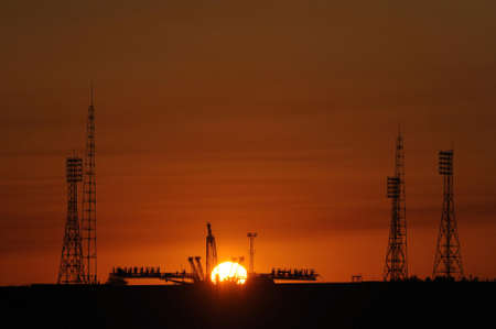 spaceport: The Soyuz launch pad at the Baikonur Cosmodrome in Kazakhstan LANG_EVOIMAGES