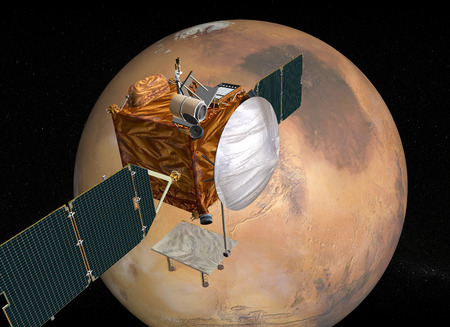 sceince: Mars Telecommunications Orbiter in flight around Mars LANG_EVOIMAGES