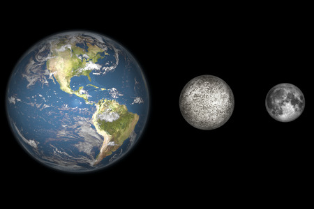 Artists cocnept showing the Earth, Mercury and Earths moon to scale (from left to right). Mercury is one third the diameter of the Earth, and is the closest planet to the Sun. Mercury is somewhat larger than the Earths Moon and is believed to be compos