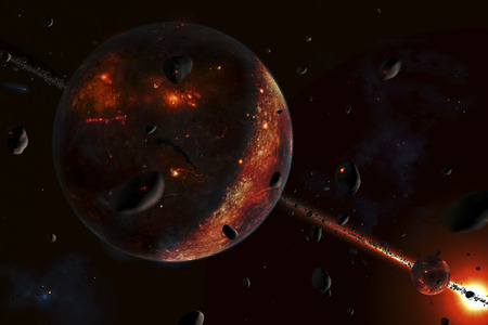 proto: A scene portraying the early stages of a solar system forming, when the (proto-)planet(-s) are heavily bombarded with smaller bodies, such as asteroids and comets. The presence of the bombarding objects is abundant, as you can see here. This hadean condit