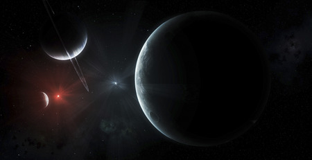 This binary star system is known to harbor a few select planets; watching curiously from afar at their bright parent suns.