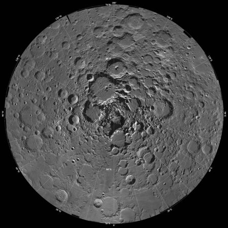 orthography: Lunar mosaic of the north polar region of the moon