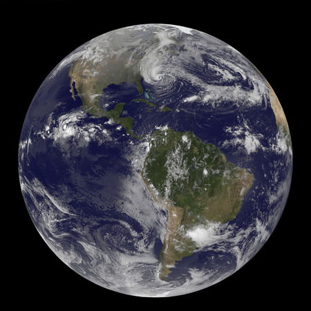 October 28, 2012 - Hurricane Sandy along the East Coast of the United States. The line of clouds from the Gulf of Mexico north are associated with the cold front that Sandy is merging with. Sandys western cloud edge is already over the Mid-Atlantic and n