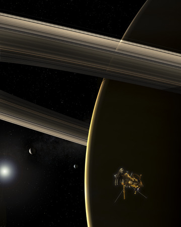 The Cassini spacecraft witnesses a shrunken sun break over Saturn. Saturns rings and two of its moons are also visible.