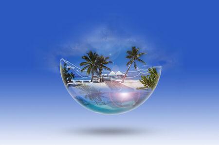 maldives island: seascape dream in a glass sphere