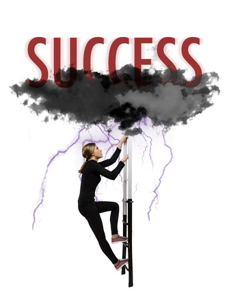 scaling ladder: scaling to success between lightning and black clouds Stock Photo