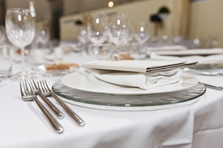 formal dinner: classic equipment for banqueting and catering Stock Photo