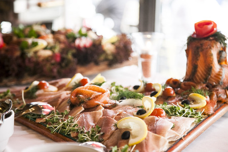 banqueting: buffet with  a delicious seafood appetizer sliced