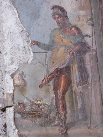 excavations of Pompeii sex scene in a fresco Stock Photo