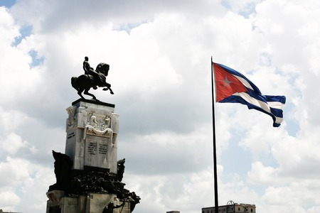 equestrian monument with the Cuban flag in cuba