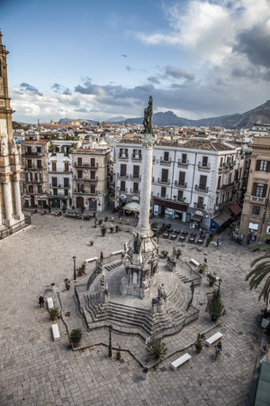 palermo   italy: square Church of Saint Dominic, Palermo Italy