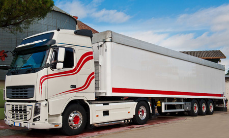 truck with long trailer, trucking and logistics