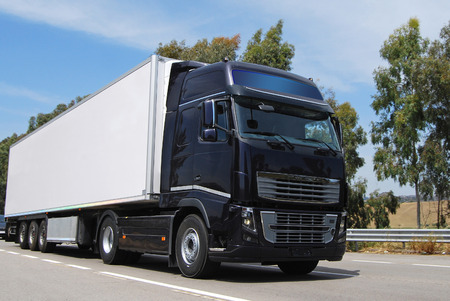 truck with long trailer, trucking and logistics photo