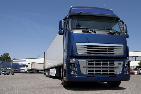 trucking: truck with long trailer, trucking and logistics