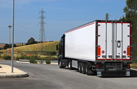 transportation company: truck with long trailer, trucking and logistics