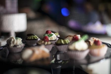 bigne: tray with dessert with sweet Italian pastries Stock Photo