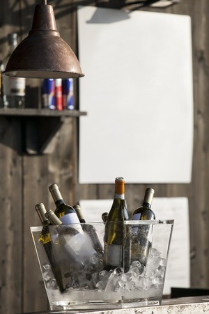 banqueting: bar counter with bottles cool in the bucket with ice