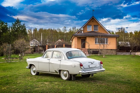 designates: The Volga GAZ M21 old vintage car the biggest and most luxurious car in the USSR in the 6039s