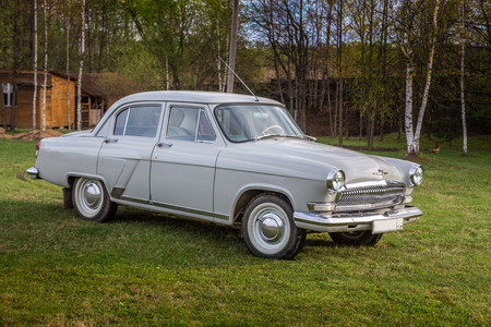 The Volga GAZ M21 old vintage car, the biggest and most luxurious car in the USSR in 60s