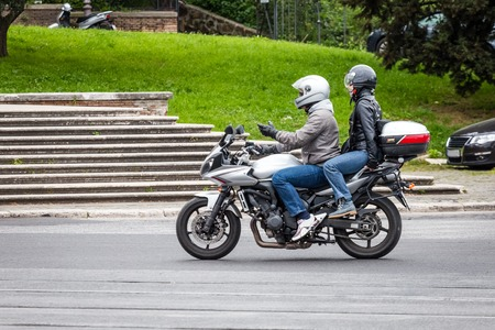 city road: bikers on the city road with helmet