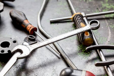 bodyparts: work tools used in a machine shop Stock Photo