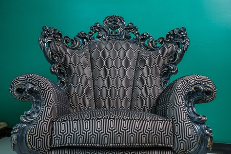an classic armchair, color green,  vintage style