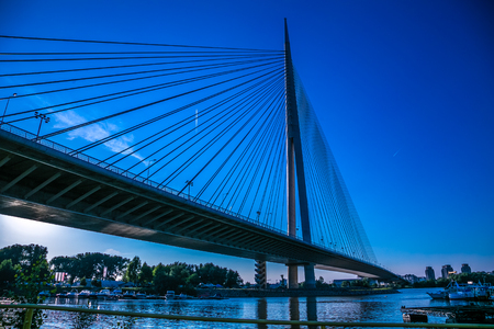 Ada bridge on river Sava,  Belgrade, Serbia