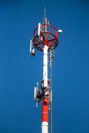 repeater: repeater antenna tower - telecommunications system Stock Photo