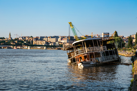 boat sank on the River Sava in Belgrade - Serbia Stok Fotoğraf